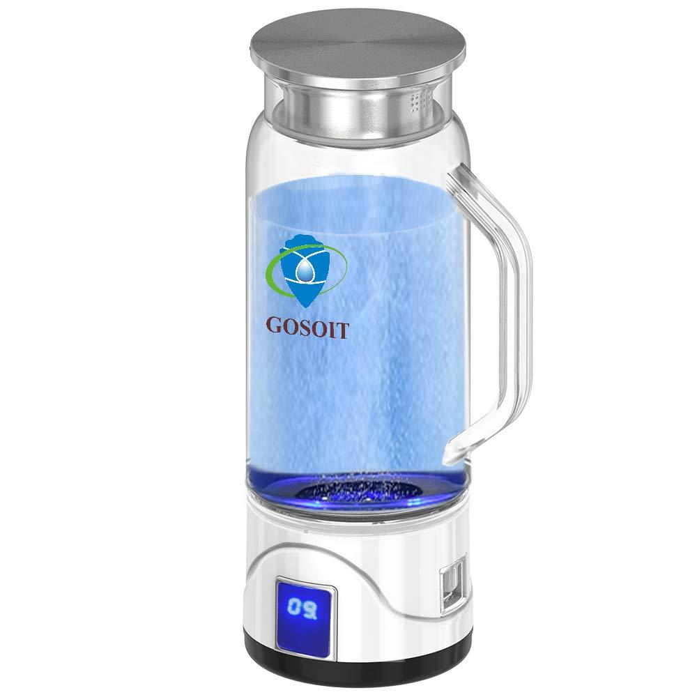 GOSOIT Hydrogen Alkaline Water Maker Machine Generator Hydrogen Water Bottle Pitcher Ionize System with SPE PEM TechUS Proton Membrane Make Hydrogen Content to 800 1200 PPB