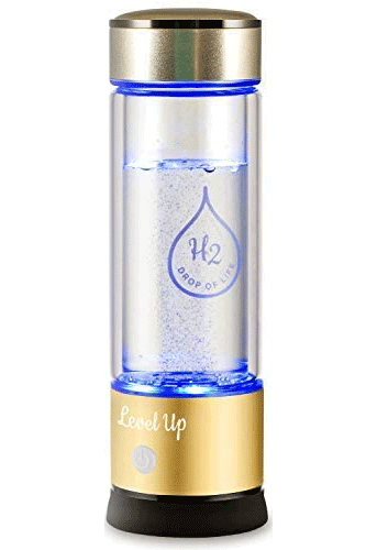Level Up Way Hydrogen Water Bottle Generator New Technology Glass Water Ionizer SPE Ionic Membrane High Borosilicate Glass 13 Ounce